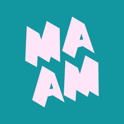 Pink MAAM logo on teal background